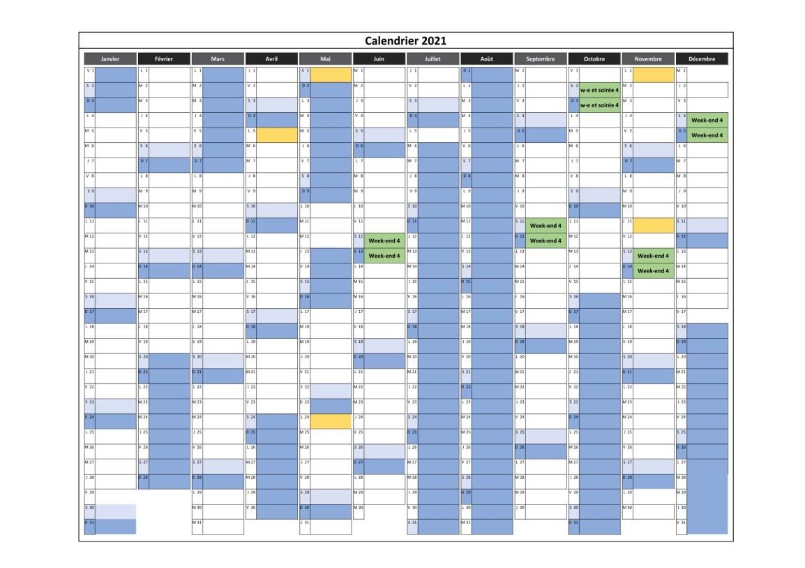 calendrier des cours en weekend 4 pour 2021