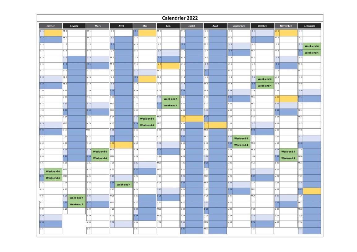 calendrier des cours en weekend 4 pour 2022