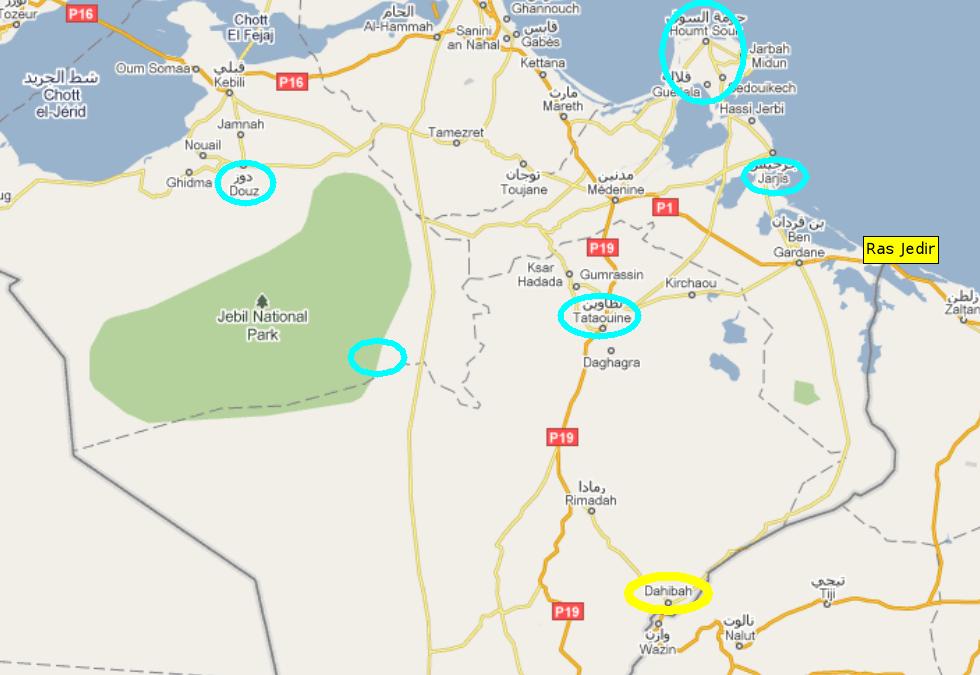 carte tunisie libye