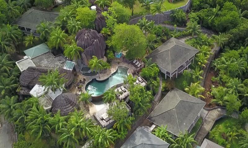 Valmer resort hôtel ile de Mahe Seychelles vue de drone escapades amoureuses