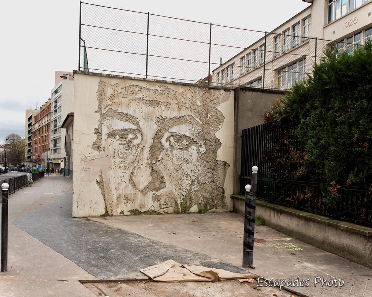 Vhils - sculpture au burin - Paris 13e
