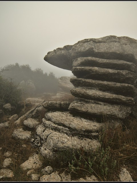 Roches aux formes curieuses dans le brouillard