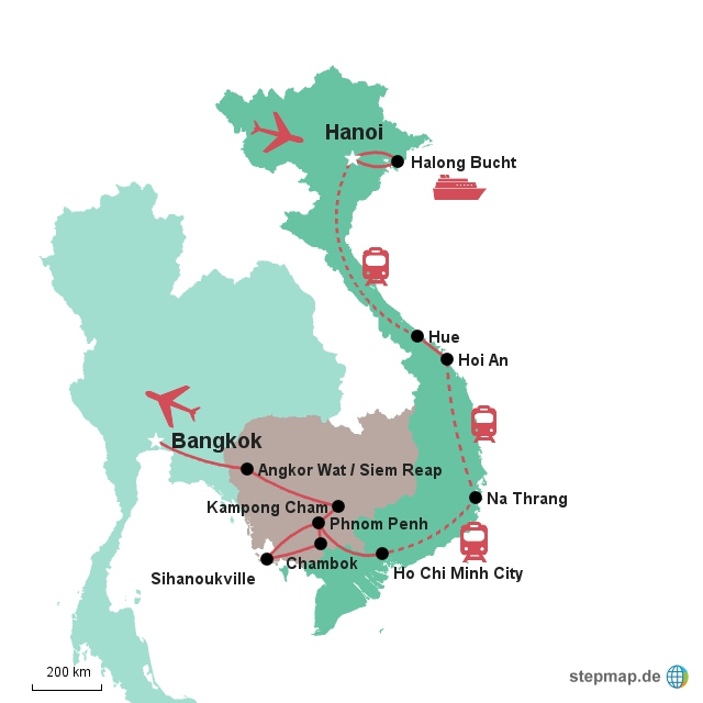 Karte Vietnam - Kambodscha - Thailand