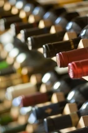 vertical wine bottles