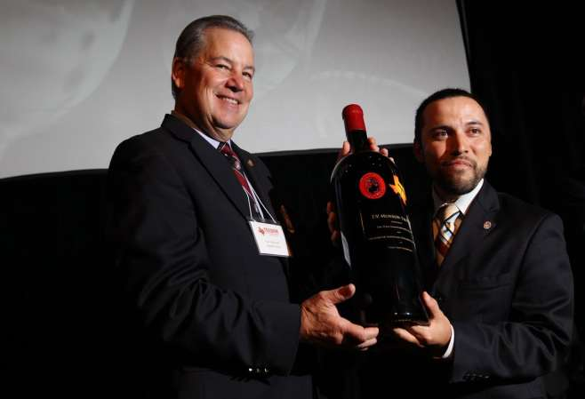 Jason Huerta, right, wins TexSom Best Sommelier in Texas title