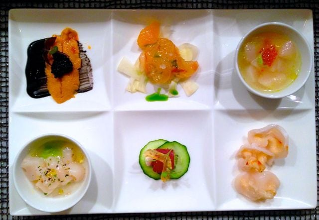 crudo sampler includes geoduck, lobster, uni, tuna, scallops and a whole lot of wow