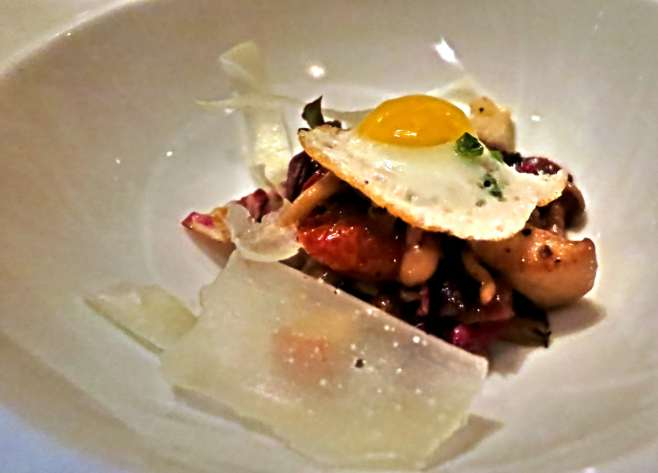 abacus dallas wild mushroom salad with grilled radicchio, watercress, quail egg