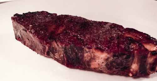 Dallas Chop House's 459-day dry-aged prime beef rib-eye after a pass through the broiler