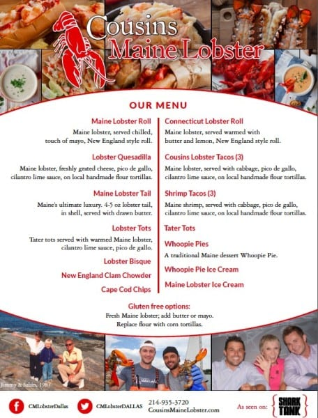 lobster menu