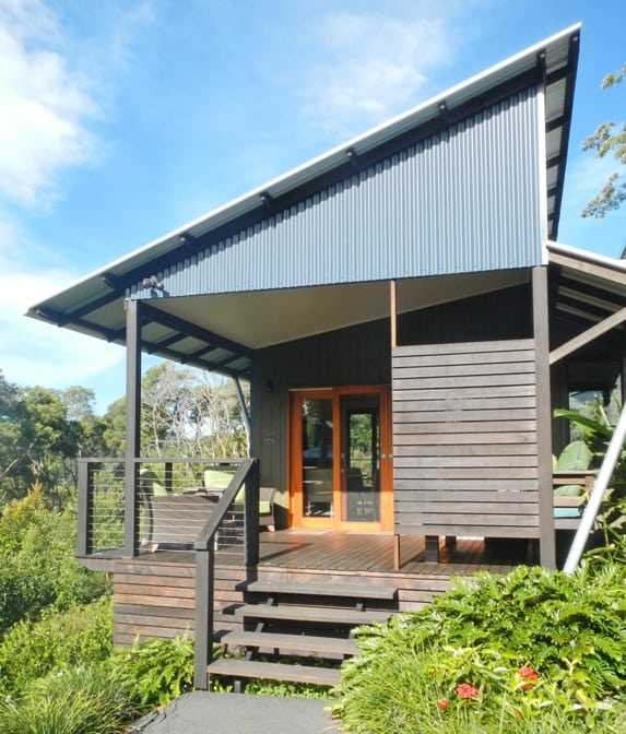Wood and glass are used extensively in the villas at Spicers Tamarind Retreat in Queensland, Australia.