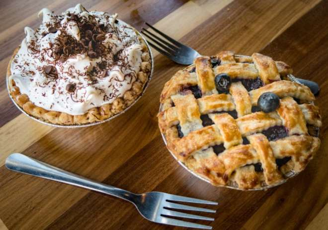 chocolate and blueberry pies are homemade at liberty burger in dallas