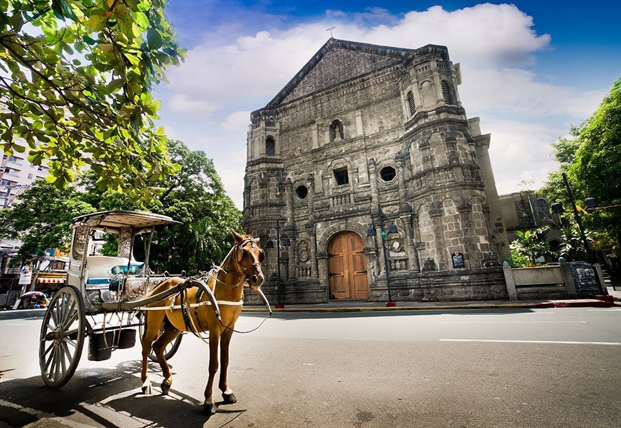 Kalesa in front of Malate Church, Intramuros,  Manila, Philippines