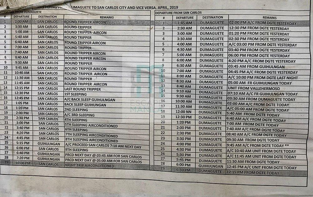 Dumaguete to San Carlos Bus Schedule