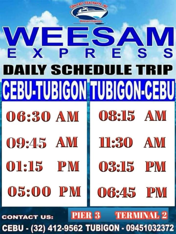 Ferry Schedule from Cebu to Tubigon / Tubigon to Bohol via Weesam Express
