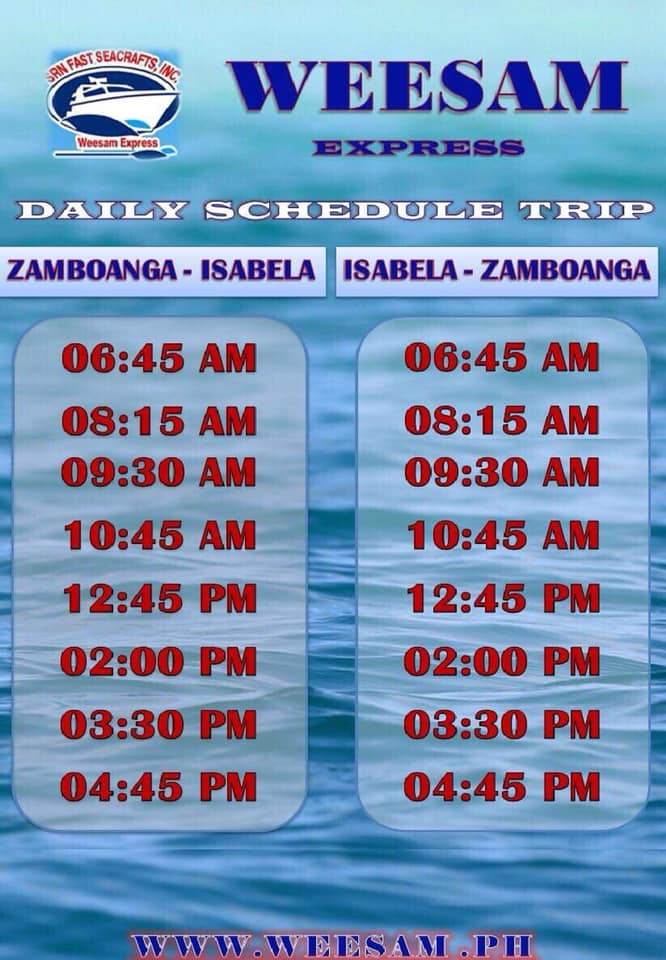 Weesam Express Schedule of fast craft from Zamboanga City to Isabela City
