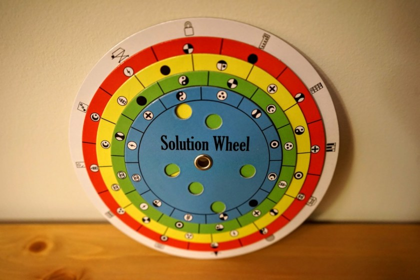 The solution wheel is back! This is a fun mechanism to check your solutions to any of the puzzles.