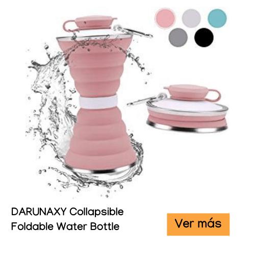 ≫16 Accesorios de viaje esenciales para MUJERES【2020】 DARUNAXY Collapsible Foldable Water Bottle