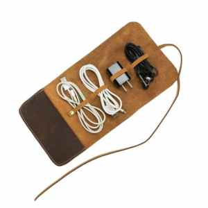 organizador de cables electronicos en cuero