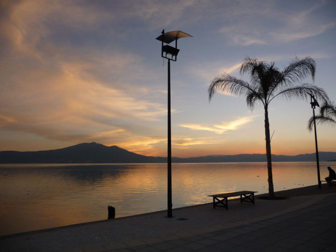 Sunset over Lake Chapala from Ajijic Malecon.