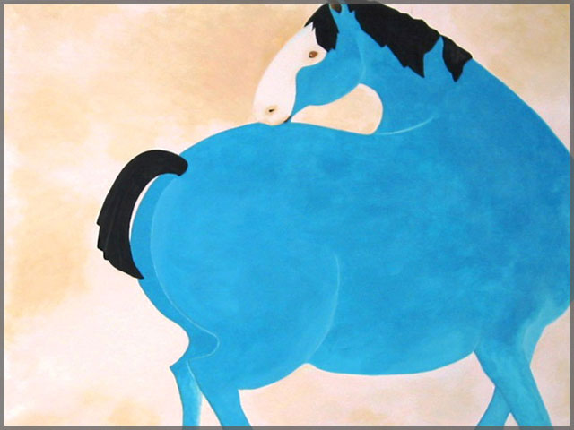 Artist Judy Welch named this piece Blue Horse, acrylic painting on canvas.