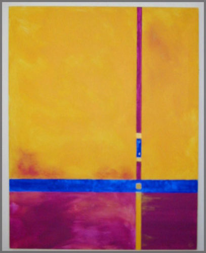 Abstract by Artist Judy Welch of Ajijic, Mexico named Yellow #5 acrylic on canvas painting.