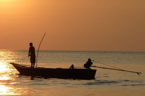 fishing in boat at sunset, fishing trip packing list