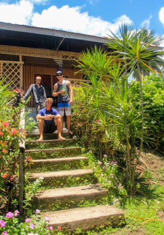 In front of our tropical hideaway.