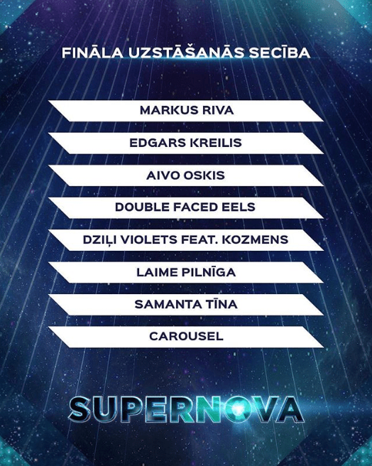 Eurovision 2019 Supernova Latvia 2019 Final running order