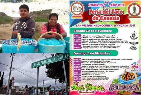 Hoy y mañana la Feria del Taco de Canasta en San Vicente Xiloxochitla, Tlaxcala.