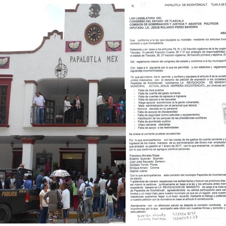 Piden familiares del ex diputado perredista revocación de mandato del acalde de Papalotla.