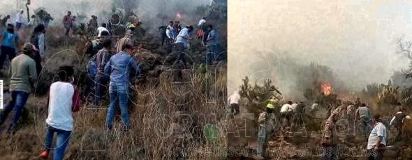 En riesgo habitantes de Terrenate y Tlaxco por incendios que siguen activos.