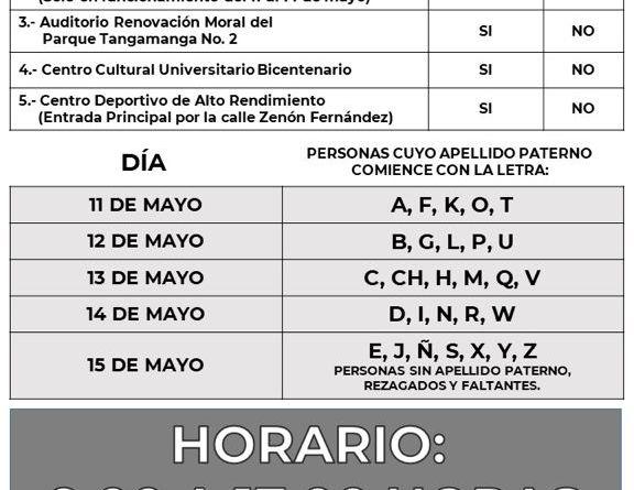 ROLL PARA APLICACION DE SEGUNDA DOSIS DE VACUNA COVID-19