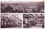 Ansichtskarte mit Außen- und Innenansicht der Gaststätet zru Krone und Ortsansicht