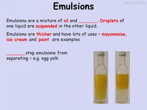 Examples of Emulsions