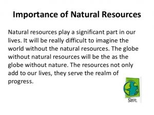Importance of natural resources