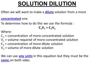 The formula for a concentrated solution