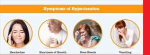 Symptoms of hypertension include