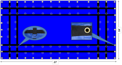 16x27 blue steel tarp esc lightweight 10oz pvc viny;l