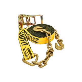 "2"" x 30' Ratchet Strap with Chain Anchor - Yellow"
