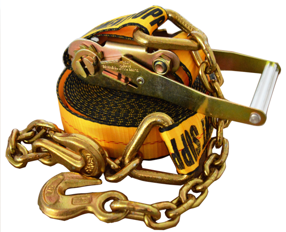 2in x 30ft ESC Premium Ratchet Strap with Chain Anchor - Yellow