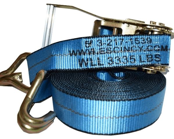 "2"" x 30' Ratchet Strap w/ 2"" wire hook - Blue"