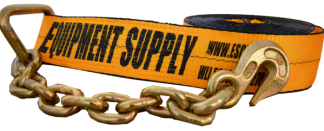 4in x 30ft ESC Premium Winch Strap with Chain Anchor - Yellow