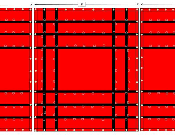 3pc. lumber tarp hd 8' drop esc 18oz. vinyl red