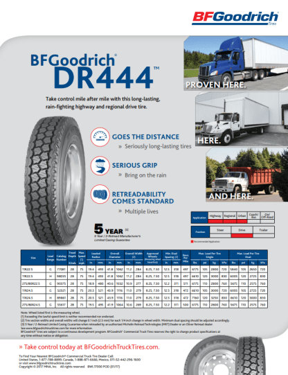 BF GOODRICH DR444™ PRODUCT SHEET