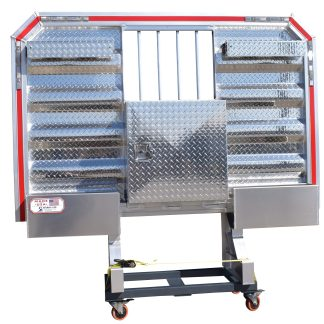 6880DHBW DELUXE CAB RACK, 2 LCR, 2 HALF TRAYS, BAR WINDOW, TOOLBOX UNDER WINDOW