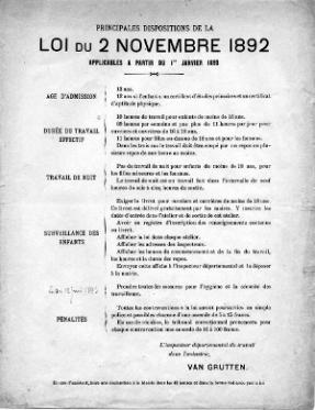 La loi du 2 novembre 1892 réglemente la durée du travail et les salaires