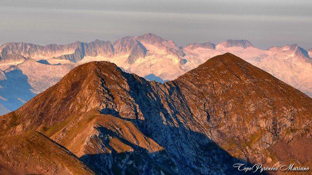 Vue sur l'Aneto depuis le Mont Valier