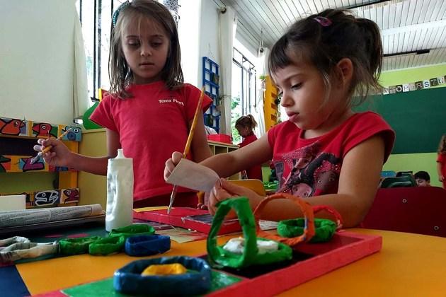 Alunas do integral durante a atividade - Foto Carmynha Santos