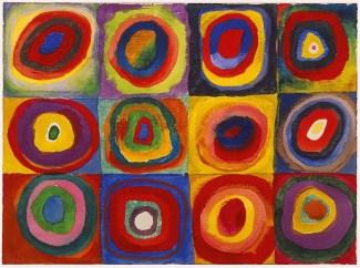 Wassily Kandinsky - Estudo de cores. Quadrados com Círculos Concêntricos, 1913 - Aquarela, guache e crayon sobre papel - Reprodução