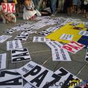 Manifestantes en el Parque del Retiro de Madrid